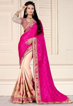 Art Silk Jacquard and Faux Georgette Half N Half Saree in Fuchsia and Light Peach Enhanced with Resham, Zari, Beads, Applique, Beaded Lace and Patch Border Work Available with an Unstitched Art Brocade Silk and Net Blouse in Fuchsia and Off White Free Services: Fall and Edging (Pico) Do Note: All accessories shown in image is for presentation purpose only(Slight variation in Brocade Design, actual color vsimage is possible)