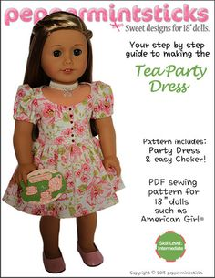 Peppermintsticks The Tea Party Dress Doll Clothes Pattern 18 inch American Girl Dolls | Pixie Faire