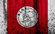 Download wallpapers FC Ajax, 4k, Eredivisie, grunge, logo, soccer, football club, Netherlands, Ajax, art, stone texture, Ajax FC