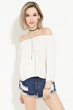 Buttoned Off-the-Shoulder Top