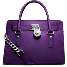 Michael Michael Kors Leather East West Satchel ($298) ❤ liked on Polyvore featuring bags, handbags, grape, satchel handbags, satchel purse, real leather purses, purple handbags and purple leather handbag