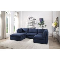U Couch, Deep Couch, Couch With Chaise, Small Sectional Sofa, Navy Blue Sectional, Couches, Sofa Set, Navy Blue Sofa, Blue Couch Living Room