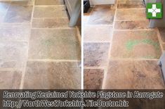 This is a reclaimedYorkshire flagstone floor that was re-laid at a house in Harrogate some years prior with under floor heating. The Yorkshire stone was really nice and contained some varied natural colours including green from what must have been a copper deposit in the stone. This is the beauty of this type of stone, there is a huge variation in tone and colour. The client got in touch with Tile Doctor as the stone looking flat and featureless and had become difficult to keep clean.
