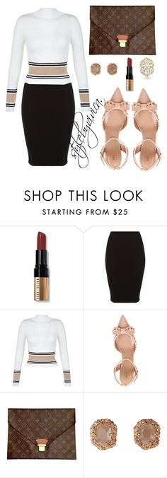 """Petite Fashion."" by stylebyvivica ❤ liked on Polyvore featuring Bobbi Brown Cosmetics, New Look, RED Valentino, Louis Vuitton and Allurez"