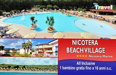 Nicotera Beach Village **** Nicotera Marina Direttamente sul mare 🏄 All Inclusive 1 Bambini GRATIS fino a 16 anni n.c. per le prime 10 camere  📧 info@thetravel.it 📞 0882.1995820 📱346.0296648   #nicotera #villaggio #calabriatravels #spiaggia #sulmare #lovecalabria #vacanza #offerta #bambinigratis #allinclusive #prenotasubito #chiediunpreventivo #like Beach Village, Outdoor Decor, Travel, Swimming Pools, Viajes, Destinations, Traveling, Trips, Tourism