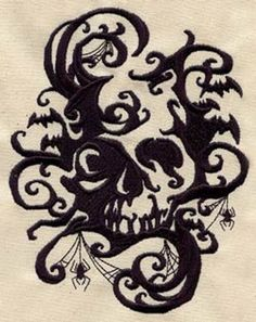 Japanese Embroidery Tiger Halloween Kitchen Towel, Spooky Shadows Holiday Towel, Embroidered Kitchen Towel, Halloween Skull Towel, Bat and Spider - Totenkopf Tattoos, Urban Threads, Halloween Art, Halloween Vampire, Halloween Kitchen, Halloween Stencils, Halloween Tattoo, Gothic Halloween, Halloween Clipart