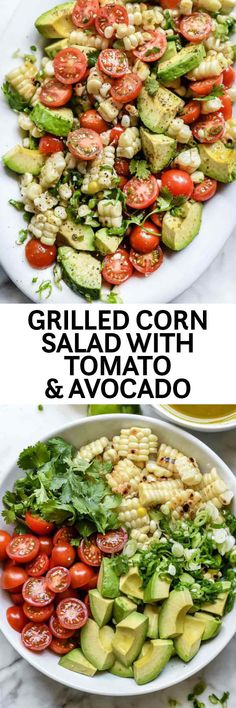 GRILLED CORN SALAD WITH TOMATO AND AVOCADO RECIPE | foodiecrush.com When fresh corn and tomatoes are at their summer best, this easy salad with creamy avocados that's simply dressed with a hint of Mexican jalapeño, lime juice, and garlic, is a healthy recipe that's sure to become the star side dish of every potluck and barbecue you make it for. #corn #salad #Mexican #fresh #grilled #recipes #avocado #summer