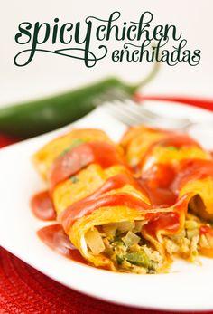 Spicy ChickenEnchiladas | pipandebby.com