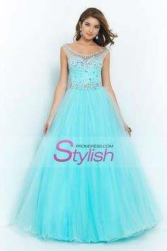 2015 Bateau Beaded Bodice A Line/Princess Prom Dress With Tulle Skirt Open Back USD 189.99 STPGCH4B36 - StylishPromDress.com