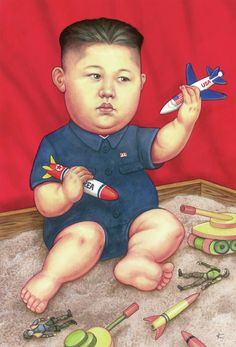 """""""New Toys"""" . The New Yorker cover, January 2016 by Anita Kunz (Kim Jong-Un, New Toys) The New Yorker, New Yorker Covers, Magazine Wall, Now Magazine, Print Magazine, Magazine Covers, Caricatures, Capas New Yorker, Political Art"""