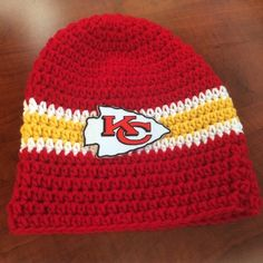 Crochet Pattern Kansas City Chiefs Afghan : NFL 0-3 m Handmade Kansas City Chiefs Football Team ...