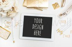Styled Tablet w/ Garden Roses & Gold Stapler / от KateMaxShop