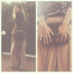 ZARA from head to toe for the day. DETAILS--->@officialzara shirt, pants & sandals @hm rings #vintage bag