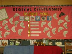 This is an activity that can be done within the classroom in order to show students their digital footprint and to teach a lesson about online safety. Technology Posters, Digital Technology, Educational Technology, Cool Bulletin Boards, Elementary Bulletin Boards, Citizenship Activities, Library Activities, Computer Lessons, Computer Lab