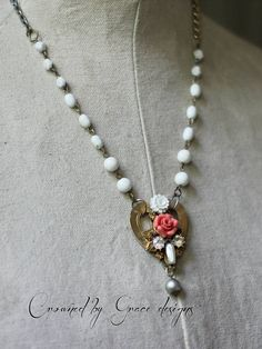 Coral Rose vintage assemblage necklace heart white rosary