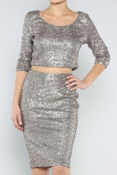 Crushed Silver Sequin Crop Top and Pencil Skirt Set, $189.00 (http://www.kamishade.com/haute-sequin-designer-dresses/crushed-silver-sequin-crop-top-and-pencil-skirt-set/)