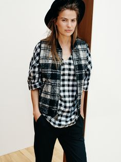madewell reversible vest in copeland plaid worn with the vocalist shirt in buffalo check, track trousers + madewell & biltmore® straight-brim felt fedora.