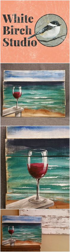 Red Wine on the beach painting, pallet beach wall art, Beach Chair, upcycled Reclaimd, Handmade Seascape horizon, ocean, Distressed, shabby  Dimensions are APPROX. 30 inches wide x 22 inches high   A calming seascape with 3 birds flying in the distance with a sandy shore with a glass of your favorite wine sitting on the arm of your beach chair. It has been slightly aged by sanding the edges.