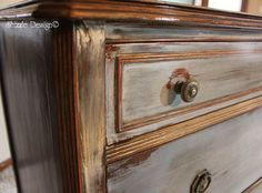 antique dresser hand painted and waxed by Shizzle Design in CeCe Caldwell's Chesapeake Blue, Aging Dust, Dover White, vintage Michigan chalk clay paint front vintage best pictures painted furniture 2