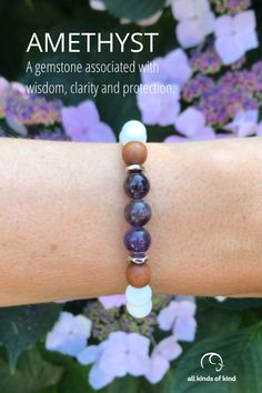Amethyst encourages a calm mind and the ability to more deeply connect with your inner self.#allkindsofkind #gemstonebracelet Allergy Free, Gemstone Bracelets, Amethyst Gemstone, Sea Foam, Allergies, Connect, Calm, Gemstones, Handmade