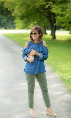 Chambray Shirt + Olive Pants