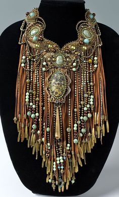 """Rhinestone Cowboy"" - Bib-Style Necklace with Gemstone Beads and Cabochons, Seed Beads, Cupchain and Leather Cord ~ Designer - Sherry Serafini Ethnic Jewelry, Jewelry Art, Beaded Jewelry, Beaded Necklace, Jewelry Design, Fashion Jewelry, Necklaces, Bead Embroidery Jewelry, Beaded Embroidery"