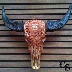 "/""SALE/"" real bar dragon motif man cave decor Water buffallo skull carved"