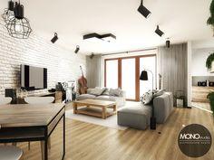 Biała cegła urozmaica dużą powierzchnie ściany i nadaje wnętrzu charakteru.  Więcej o nas znajdziesz na www.monostudio.pl oraz facebook Projektowanie WNĘTRZ pod klucz MONOstudio.pl