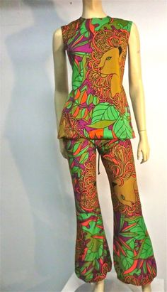 Mod •~• vintage lion-print pantsuit with back lacing (LOVE THIS!!!)