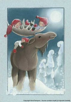 """Baby in the """"Bed"""" of the Moose's Antlers, and one on the back. Illustration by Kaarina Toivanen Christmas Art, Christmas And New Year, Vintage Christmas, Christmas Illustration, Cute Illustration, Creation Photo, Reindeer Antlers, Scandinavian Gnomes, Illustrations"""