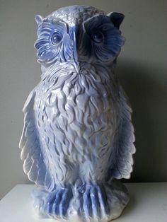 Large-blue-owl-ceramic-umbrella-holder