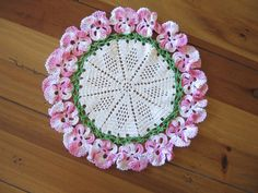 Classic crocheted doily with pansy border