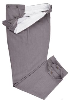 Luxire dress pants constructed in Vitale Barberis Canonico - Prunnelle 110s Grey Twill: http://custom.luxire.com/products/vbc-vitale-barberis-canonico-prunnelle-110s-grey-twill-vbc_587_801_492  Consists of standard extended closure with front slant pockets, 1.5″ bottom cuffs and 2 rear pockets with buttons.