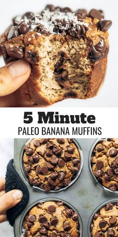 Best paleo banana muffins made in the blender- in 5 minutes! Easy gluten free an. Best paleo banana muffins made in the blender- in 5 minutes! Easy gluten free and paleo banana muff Paleo Banana Muffins, Protein Powder Muffins, Banana Breakfast Muffins, Coconut Flour Muffins, Dairy Free Muffins, Chocolate Banana Muffins, Gluten Free Banana Bread, Chocolate Cake, Muffins Sains