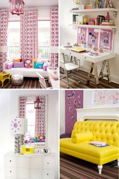 The white walls make the room look clean and open. The yellow and purple add a pop of color