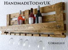 Handmade Rustic Industrial Wine Rack with Glass Holder