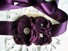 Aubergine Floral Wedding Sash - Bridal Flower Sash Set - Bridesmaids Mother of the Bride - Wedding Gift Accessory