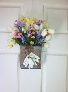 A personal favorite from my Etsy shop https://www.etsy.com/listing/182444623/cute-flower-arrangement-shabby-chic-door