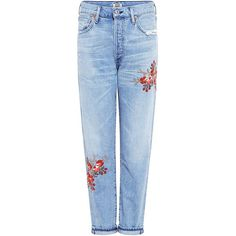 Citizens Of Humanity - Liya Emborderied High Rise Jeans (680 TND) ❤ liked on Polyvore featuring jeans, pants, bottoms, denim, high-waisted jeans, high waisted distressed jeans, distressed denim jeans, ripped jeans and high waisted blue jeans