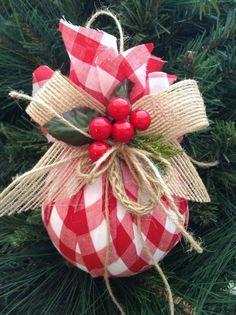 Christmas DIY : Christmas Ornaments / Red and White Xmas Ornaments / Set of 2 / Gingham Fabric Xmas Ornaments / Homespun Xmas/ Handmade and Design in FabricHome Decoration Online Shoppinggood way to use old ornaments wrap up with different holiday pr Christmas Ornament Sets, Diy Christmas Ornaments, Christmas Balls, Homemade Christmas, Christmas Holidays, Christmas Wreaths, Christmas Vacation, Burlap Ornaments, Christmas Staircase