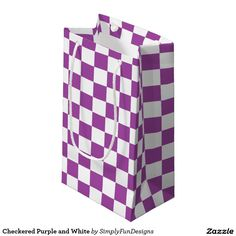Checkered Purple and White Small Gift Bag