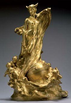 Raoul LARCHE «Les Heures» ou «Allégorie au temps» Importante pendule bronze doré