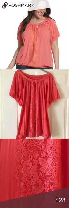 Lane Bryant Knit Peasant Top with Lace Overlay Lane Bryant Plus Size Knit Peasant Top with Lace Overlay  Size: 18/20 Color: Coastal Coral  In impeccable, like-new condition... I'm not sure if I ever actuallywore this top, or if I just took the tags off and forgot about it. Please note: First photo is a stock image (for clarity of details), and the rest of the pictures are of the actual item.  Detailed with lace overlay, this easy-wearing style is incredibly versatile and flattering with a…