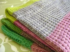 baby blanket 2. Pattern is k1, p1 across then the next row is just knit across. Repeat these 2 rows.