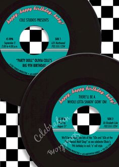 Fabulous '50s 45 rpm Sock Hop Birthday Party Custom Personalized Printable DIY Invitation. $15.00, via Etsy.