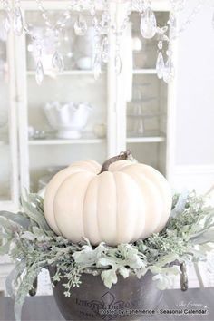 Harvest Haven Fall Tour 2016 - SheLeavesALittleSparkle At Michaels you can find faux lambs ear and beautiful faux white pumpkins. Harvest Decorations, Thanksgiving Decorations, Seasonal Decor, Halloween Decorations, Holiday Decor, Thanksgiving Games, Holiday Parties, Autumn Decorating, Pumpkin Decorating