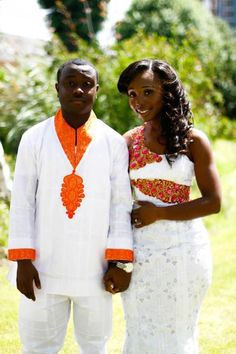 Kente spiced lace for bride. dress matching groom agbada off African Wedding Attire, African Attire, African Wear, African Weddings, African Style, African Inspired Fashion, African Print Fashion, African Prints, African Dresses For Women