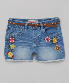 This Squeeze Medium Denim Floral Belted Shorts by Squeeze is perfect! #zulilyfinds