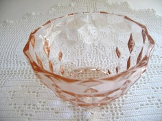 Items similar to Pink Depression Glass Cube Pattern Sugar or Salad bowl - Candy or Trinket Dish made by Fostoria on Etsy Cube Pattern, Glass Cube, Pink Depression Glass, Salad Bowls, Sugar, Antiques, Unique Jewelry, Handmade Gifts, House