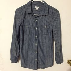 Old Navy denim button down shirt! Denim button down with small navy polka dots from Old Navy! Great condition! Wardrobe essential! Old Navy Tops Button Down Shirts